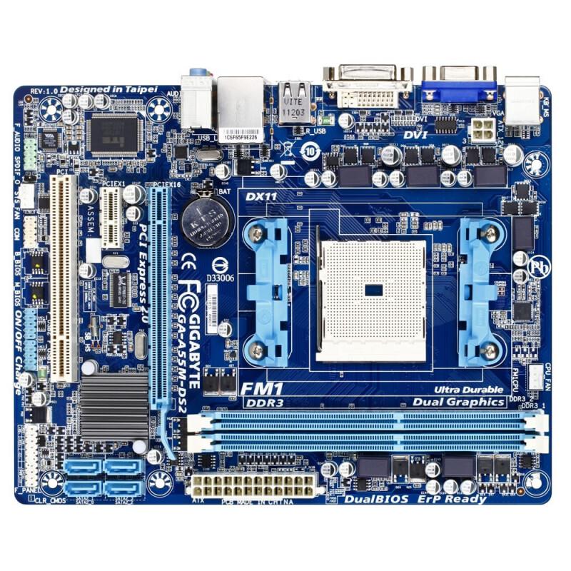 Gigabyte GA-A55M-DS2 Rev 1.0 Socket FM1 Motherboard with I//O Shield