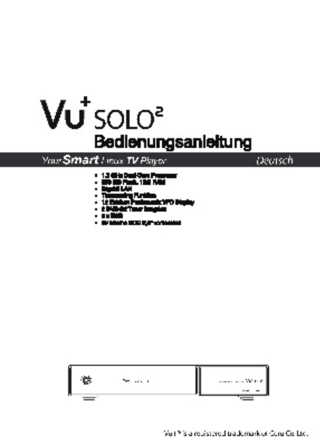 vu solo2 bedienungsanleitung